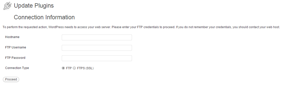 WordPress Requesting FTP Credentials